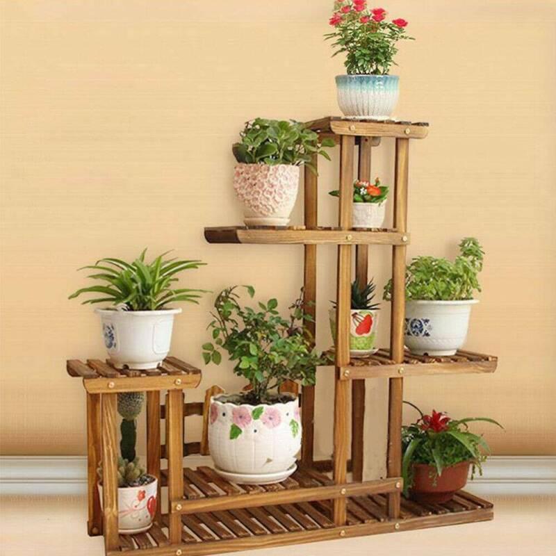 Plant Flower Pot Stand Shelf Windmill Wooden Rack Outdoor Indoor Garden Decor Ebay