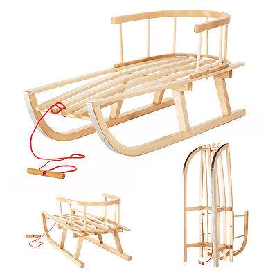 Holzschlitten aus Buchenholz mit Rückenlehne und Zugseil