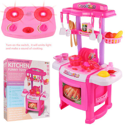 Kitchen Pretend Set Stove Oven Kids Toy Cooking Chef Role Play Kits Xmas Gift