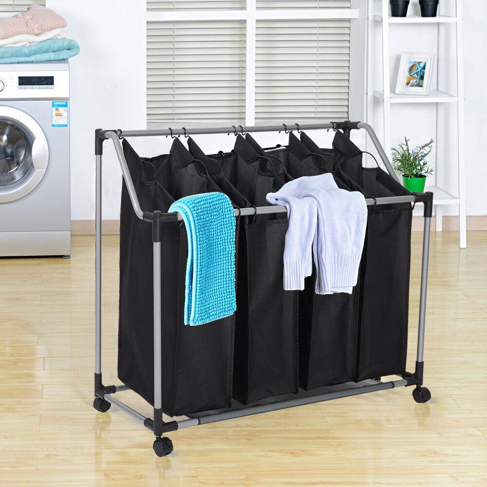 3/4 Bag Laundry Sorter Cart  Hamper Basket Organizer Heavy D