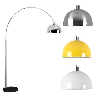 Chrome Curved Floor Lamp Black Marble Base Modern Design Lighting LED Light Bulb