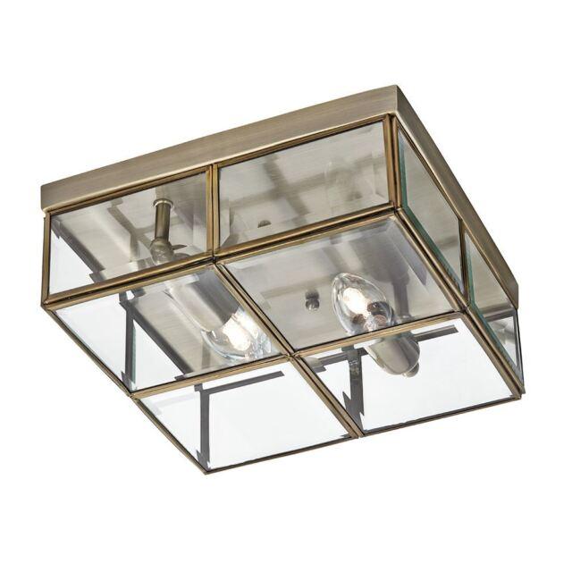 Antique Brass 2 Light Flush Ceiling Light - Searchlight 6769-26AB