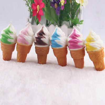 10Pcs Colorful Ice Cream Stress Relief Cones Slow Rising Squeeze PU Squishy Toy
