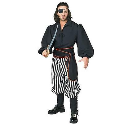 Pirate of the Seven Seas Buccaneer Men's Adult Stripe Halloween Costume up to 44 - Male Pirate Halloween Costumes