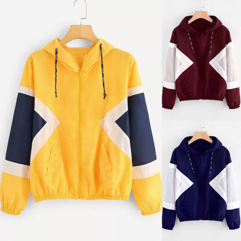 Women Long Sleeve Patchwork Thin Skinsuits Hooded Zipper Pockets Sport Coat