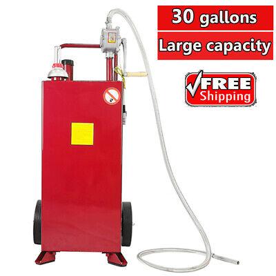 30 Gallon Gas Caddy Tank Fuel Storage Gasoline Liquefied Diesel With Pump Hose
