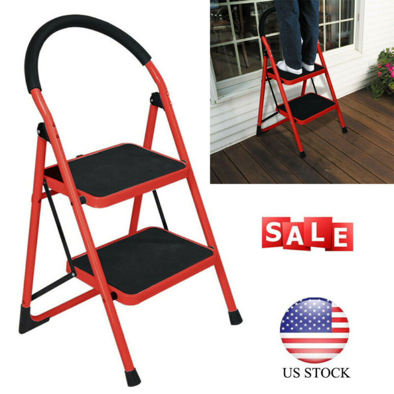 2 Step Ladder Folding Steel Step Stool Anti-slip Heavy Duty