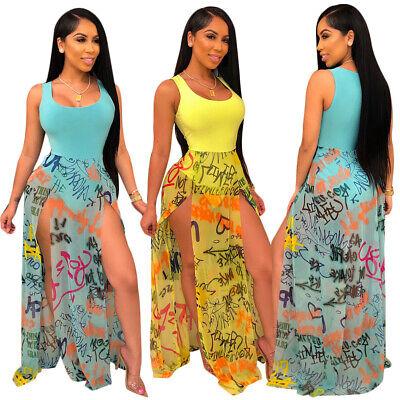 Women Sexy Sleeveless Letter Print Mesh Patchwork High Slit Summer Club (Patchwork Sleeveless Dress)