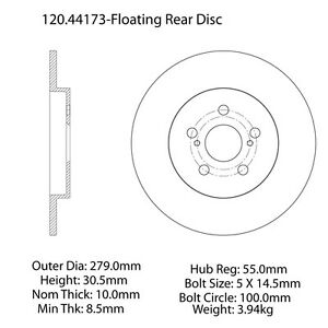 Disc-Brake-Rotor-Premium-Disc-Preferred-Rear-Centric-fits-11-13-Lexus-CT200h