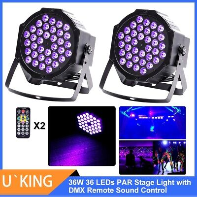 2PCS U`King UV Par Bühnelicht Blacklight 36W 36LED Fernbedienung DMX Party