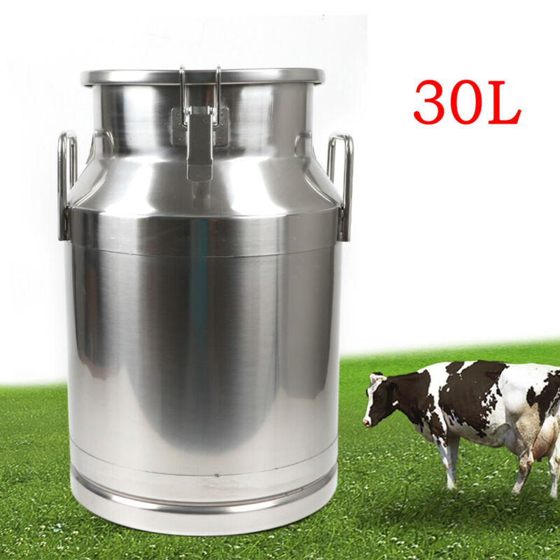 30L StainlessSteel Milk Can Heavy Duty Milk Jug Milk Bucket Wine Pail Bucket+Lid