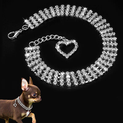 Necklace for Dogs Bling Rhinestone Dog collar with Heart Charm for Small Dogs