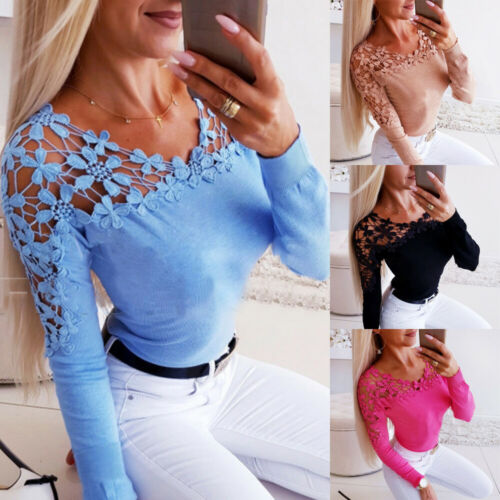 Damen Patchwork Blumen Off Shoulder T-Shirt Bluse Bodycon Shirt Oberteile Tops