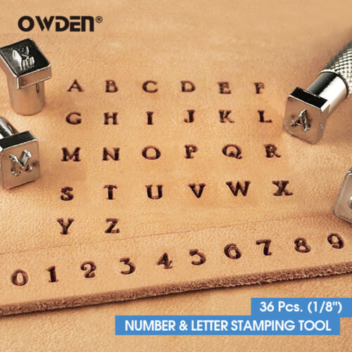 OWDEN 36Pcs Leather Number and Alphabet Stamping Tools Set (1/8 Inch)