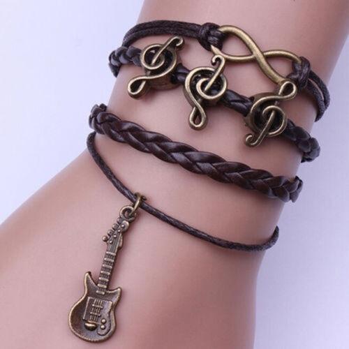 Retro Charm Leather Bracelet Antique Copper Infinity Guitar Music Friendship