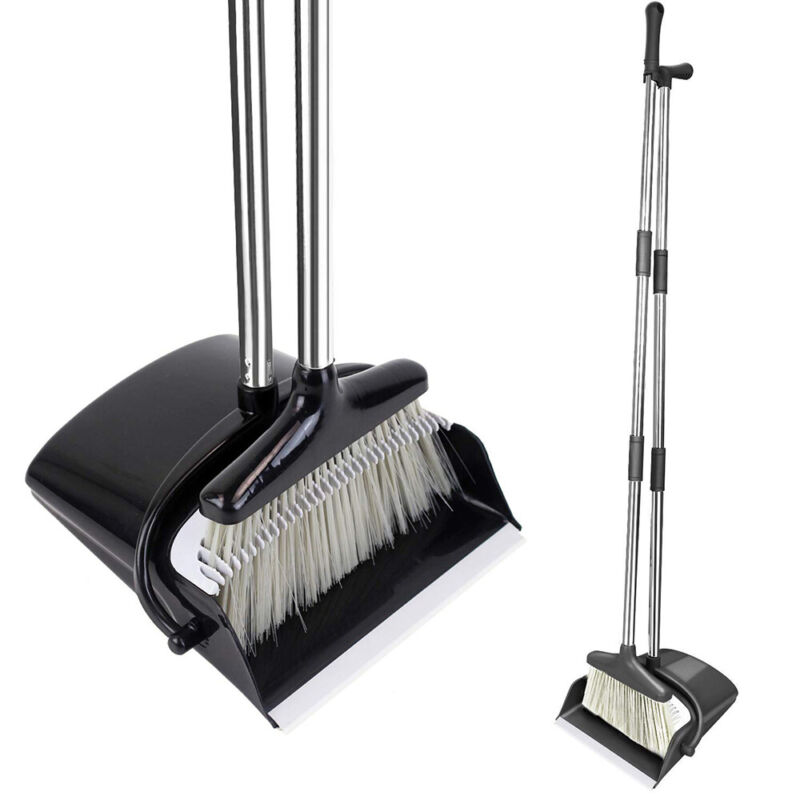 Broom and Dustpan Set With Sturdy Long Handle Combo For Kitchen Indoor Outdoor