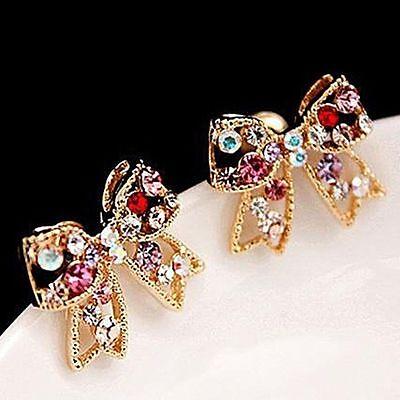 Earring Chic Ear Stud Colorful Crystal Bowknot Earrings Fashion Jewelry Women