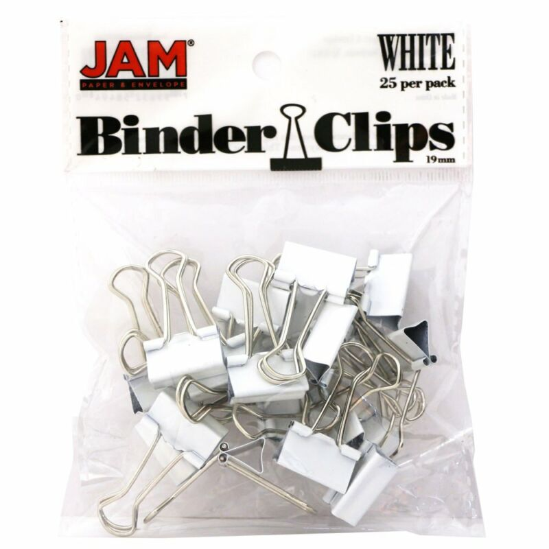 Jam Paper Colorful Binder Clips - Small - 3/4 Inch  - White