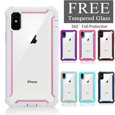 For iPhone XS MAX XR X 6s 7 8 Plus Clear Shockproof Protective Hybrid Case Cover