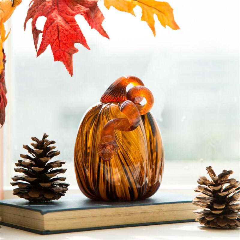 """Glitzhome 6"""" Handblown Two-Tone Stripe Glass Pumpkin Table Top Accent Fall Decor"""