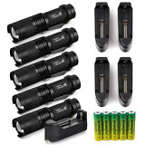 5Sets Tactical Police 8000LM CREE XM-L LED Flashlight Torch +Battery +Charger US
