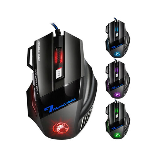 Gaming Mouse Usb Optical 5500 Dpi Led 7 Buttons Wired Mice For