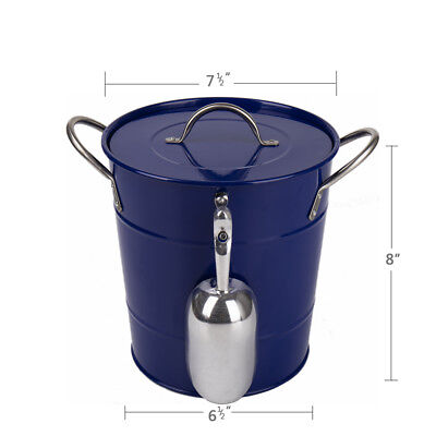 T586 Blue 4L Metal Double Walled Ice Bucket With Lid And Scoop](Metal Bucket With Lid)