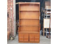 Nathan Mid-Century Modern Teak Open Bookcase or Display Shelves with Cabinet Below