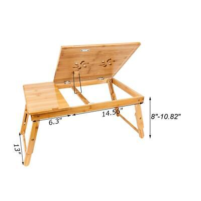 Bamboo Laptop Desk Adjustable Breakfast Serving Bed Tray with Tilting Top Drawer 6