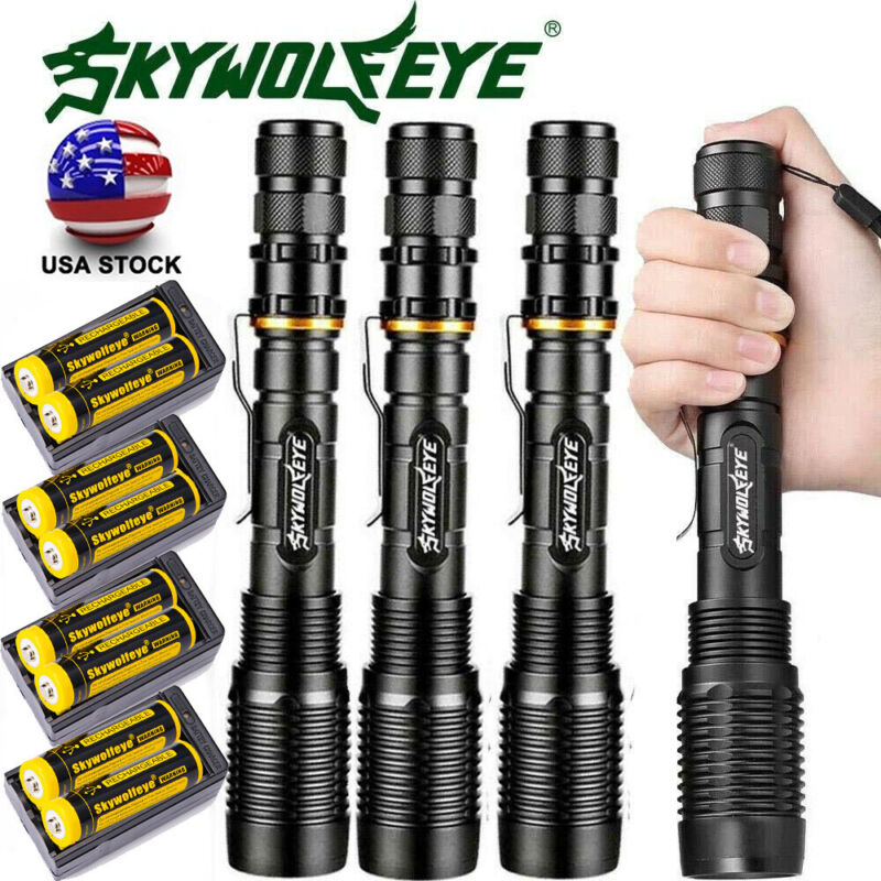 Details about  /15X Tactical 350000Lumens 5Modes LED Flashlight Zoom Aluminum Torch Lamp