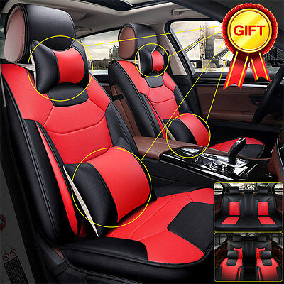 US 5-Seats Car SUV Seat Cover Cushion Microfiber Leather Front & Rear w/Pillow L