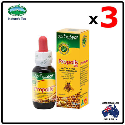 3 x Homart Springleaf Propolis Liquid Alcohol Free 40% 25ml