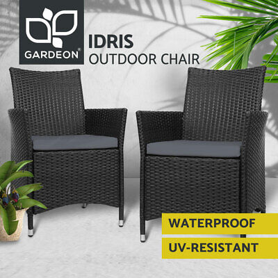 Garden Furniture - Gardeon Outdoor Dining Chairs Bistro Set Patio Furniture Wicker Garden Cushionx2