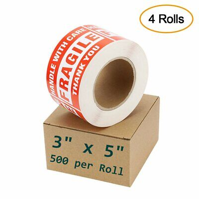 4 Rolls 2000 Label 3x5 Fragile Sticker Handle With Care Thank You Shipping Label