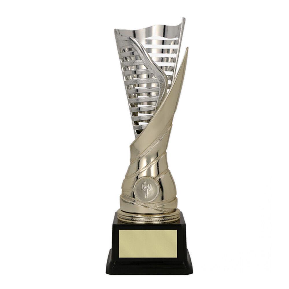 Extravaganter Sport-Pokal mit Wunschgravur/Emblem, gold/silber (PO9088)