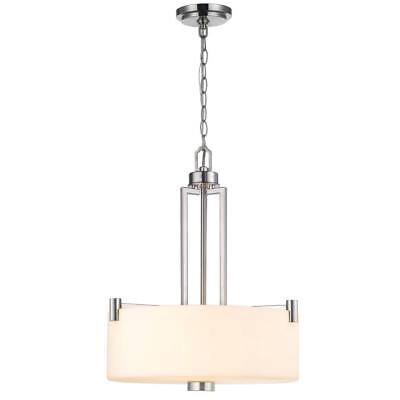 World Imports 3-Light Brushed Nickel Pendant with White Frosted Glass Shade