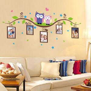 Colorato adesivo da parete gufi ramo cornici per foto - Cornici da parete per foto ...