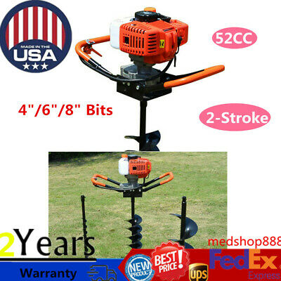 52cc 2 Stroke Gas Powered Post Hole Digger Auger Borer Fence Drill 468 Bits