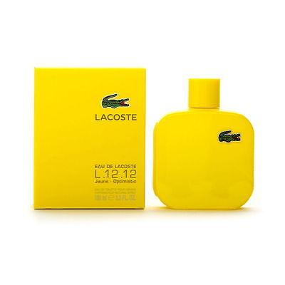 Eau De Lacoste L.12.12 Yellow Jaune Optimistic 3.3/3.4.oz/ EDT Spray New In Box