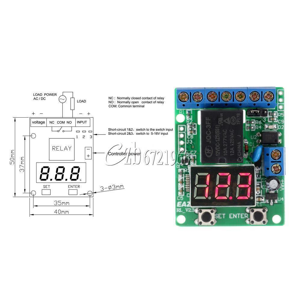 V Voltage Detection Charging Discharge Monitor Relay Switch - Normally open normally closed common relay