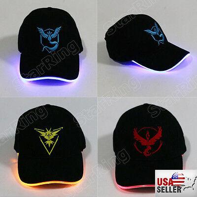 New! USA Seller LED Lighted Pokemon Go Hat Mystic Valor Instinct - Adjustable! - Led Lighted Hats