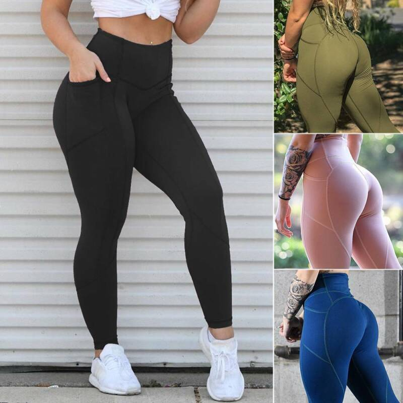Women Yoga Fitness Leggings with Pocket High Waist Sports Pa