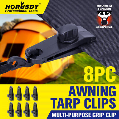 Tarp Set - 8pc Awning Tarp Clamp Set Tent Clips Hangers Survival Emergency Grommet