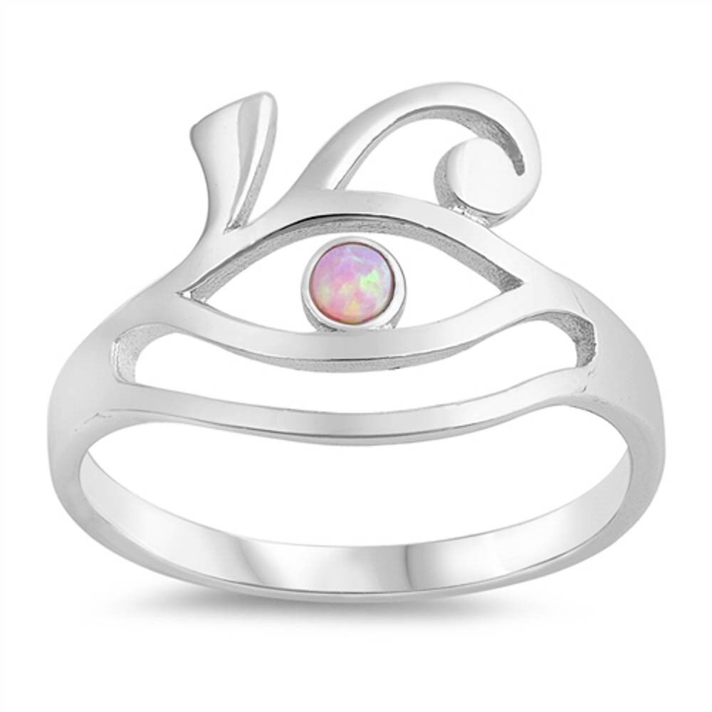 Rose Gold Plated All Seeing Eyes Pink Opal Band .925 Sterling Silver Ring 5-10