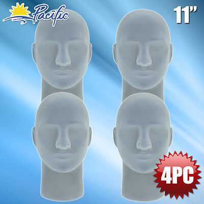 New Male Styrofoam Foam Grey Velvet Mannequin Head Display Wig Hat Glasses 4pc