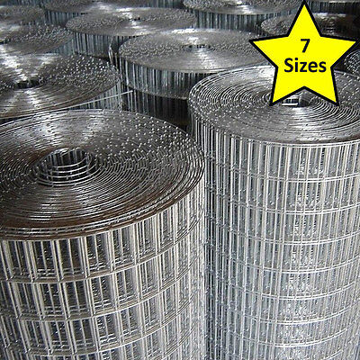 "Welded Galvanised Wire Mesh Fence 1x1"" 1x1/2"" 1/2x 1/2"" 15m 30m Aviary Chicken"