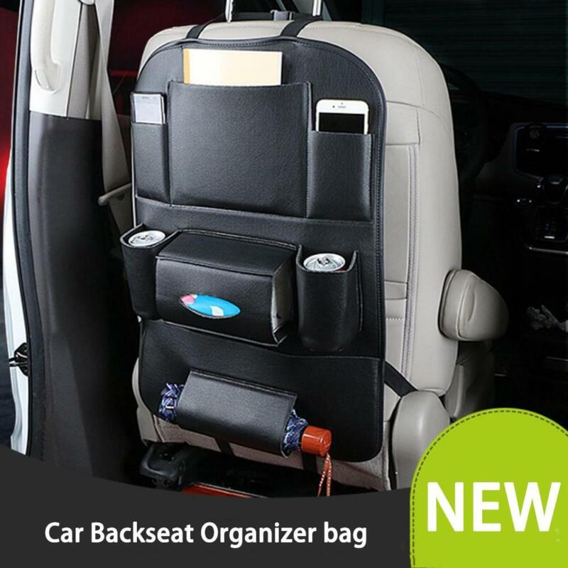 Pu Leather Car Seat Back Organizer and Cup Holder Tablet PC