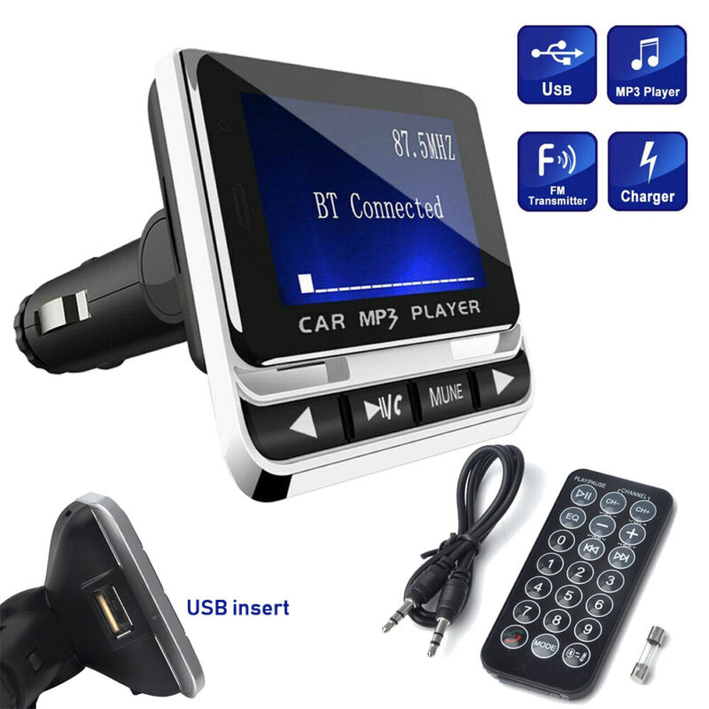 Car Bluetooth FM Transmitter with USB Charger & Remote Control Hands-Free Call