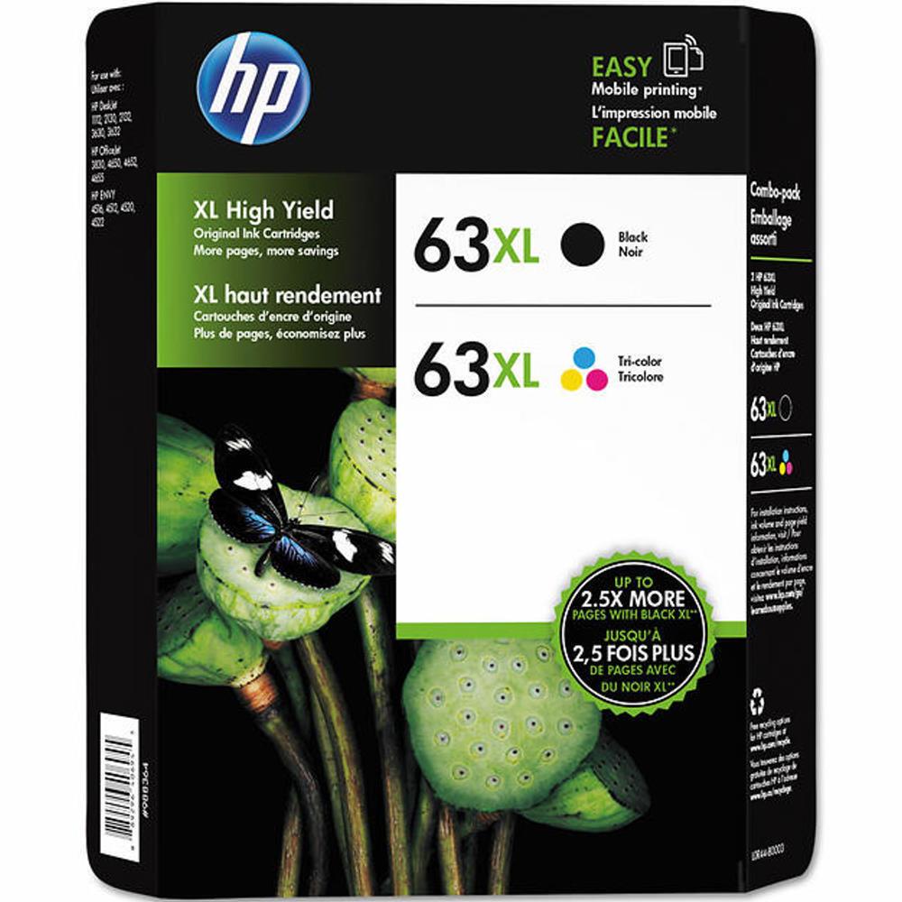2-pack Hp Genuine 63xl Black & 63xl Tri-color Ink (no Ret...