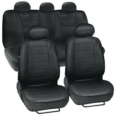 Black Leatherette Car Seat Covers Front Rear Full Set Synthetic Leather (Mercury Milan Car)